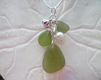 Sea Glass Necklace Olive Green Beach Glass Pumpkin Jewelry Sterling  Pendant