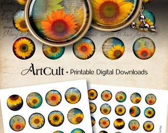 """1"""" (25mm) and 1.5"""" size images SUNFLOWER CIRCLES Digital Collage Sheet for glass and resin pendants, bottle caps, round bezel trays ArtCult"""