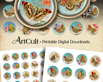 1 inch (25mm) and 1.5 inch size Printable SHABBY BUTTERFLIES Images Digital Collage Sheet for round circle pendants bottle caps bezel cabs