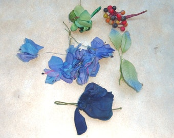 Vintage Millinery Flowers mixed lot of Blue Flowers Leaves Berries Hat Trim