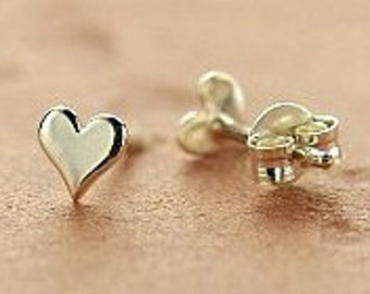 Sterling Silver Tiny Heart Post Earrings, 925 Silver,  5mm x 5mm x 1mm thick,