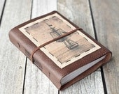 Tall Ship Leather Journal, Rustic Travel Diary, Sketchbook