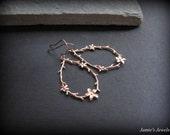 Rose Gold Flower Earrings - Flower Earrings Rose Gold- Twig Earrings - Rustic Earrings - Flower Gift -Everyday Rose Gold Earrings - Hoop