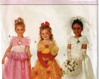 Girls  Princess Brides Wedding Gown Dirndl Overskirt Butterick 6934 Halloween Costume Child Sewing Pattern Children Size 5 6 6x Cut