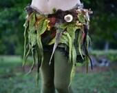 Felt Woodland Costume-Leaf And Tree Roots Belt-Pixie Belt-Nymph Skirt-Festival Wear-Burning Man-Tree Outfit-Fairy Costume-Wearable Art- OOAK