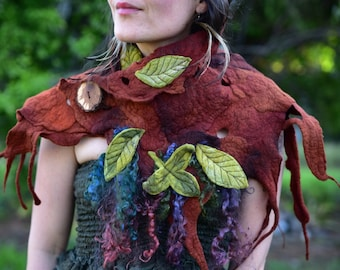 Felt Woodland Neck Warmer-Felt Leaf Cowl-Tree Roots-Pixie Shawl-Woodland Costume-Wool Scarf-Felt Leaves-Fairy Costume-Wearable Art-ShawlOOAK