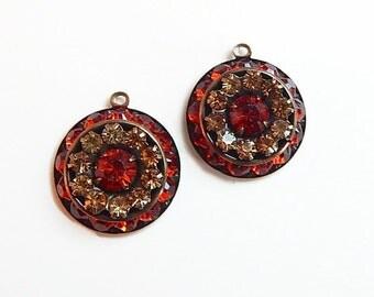 Swarovski multi-stone setting drop pendants colorado topaz and indian red Qty. 2