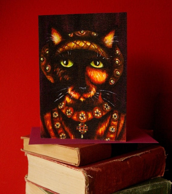 Tudor Cat Card, Anne of Cleves Tortoiseshell Cat, 5x7 Blank Greeting Card, Six Wives of Henry VIII