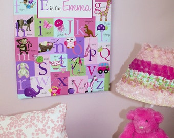 Personalized Pink and Purple Alphabet ABC Girls Stretched Canvas Children's Bedroom Wall Art CS0003