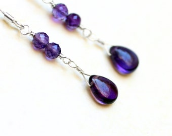 "Amethyst Earrings on Sterling Silver - ""Violet Rain"" by CircesHouse on Etsy"