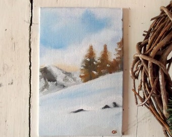 mountain winter landscape  alla prima oil painting 6x4 mini art