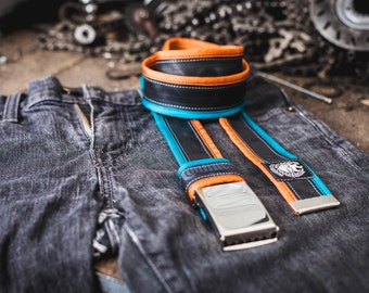Bicycle Tire tyre BELT (recycled upcycled punctured inner tube) turquoise blue / orange + buckle + FREE inner tube bag + ASAP delivery vegan