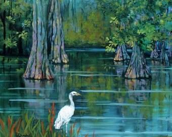 Louisiana Swamp, Heron, Egret, Cypress Trees, Louisiana Bayou Swamp Art, Wildlife Art, Louisiana Swamp, Wildlife Art Print - 'The Fisherman'
