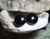 Shiny 8mm Hematite Stud Earings Earrings Titanium Post and Clutch Hypo Allergenic Handmade in Newfoundland Yang Alaska Black Diamond