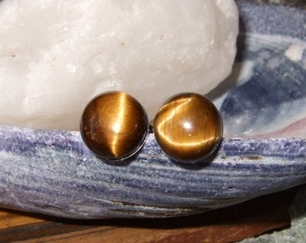 8mm Golden Tiger Eye Stud Earrings Earings Titanium Posts and Clutches Hypo Allergenic Handmade in Newfoundland Grace