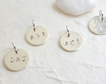 Hand Stamped Sterling Silver Disc - Personalized Name Initial Jewelry - DIY - Add a Charm - Christina Guenther