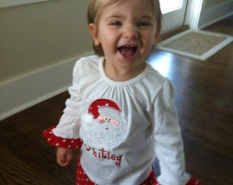 Custom Boutique Personalized Girls Santa Shirt and Ruffle Pants outfit Name Included