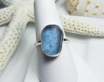 Corn Flower Blue Sea Glass Ring, Beach Glass Ring, Blue Ring, Sea Glass