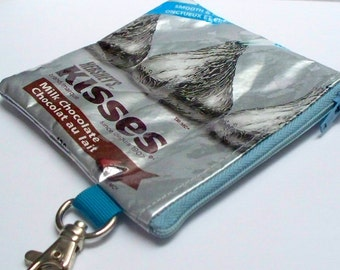 Upcycled Hersheys Kisses wrapper has been repurposed into a SWEET usable coin purse with swivel lobster clasp