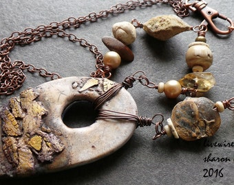 Tribal Primitive Rustic Polymer Clay Focal Necklace, Neutral Organic Copper Pearl and Gemstone Boho Inspired Jewelry