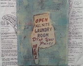 Original Art, Miniature, 5 x 7, Tiny Art, Laundry Room, Wall Decor, Signage, Drop Your Pants