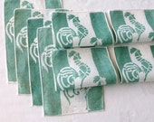 8 Linen Cocktail Napkins Jadeite Green Cockerels