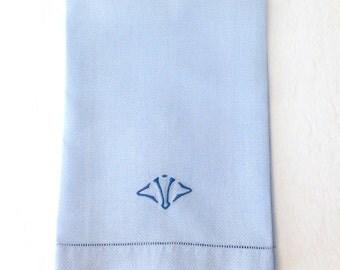 Vintage Blue Linen Towel Huck Cloth Monogram V