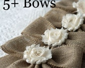 Small (7x9) Handmade Burlap Bows Flower Center Wedding Bow Set, Pew Bows, Chair Bows, Home Decor Burlap Bows