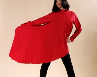"""Long red shirt, red tunic, red dress """"Lazarus"""""""