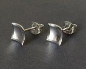 Square Post Earrings - Tiny Sterling Silver Scoops