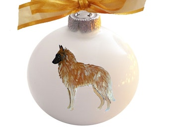 Belgian Tervuren Dog Hand Painted Christmas Ornament - Can Be Personalized with Name