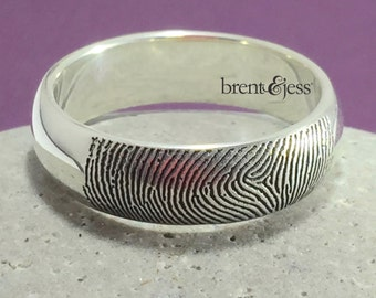 Traditional Low Dome Fingerprint Wedding Ring in Sterling Silver - Fingertip Print on the Outside