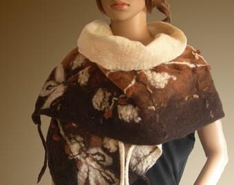 Art to wear. Nuno felted handmade scarf. Unique.