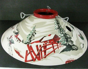 Vintage Metal Christmas TREE STAND / Mid Century Lithograph / Nostalgic Winter Scene / Excellent Condition