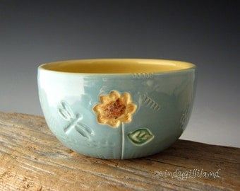 Sunflower Bowl in Vintage Turquoise with Dragonfly and Heart - Pottery Bowl - by DirtKicker Pottery