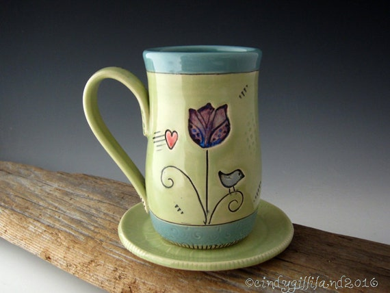 Pottery Mug in Lime and Turquoise with Tulip and Bird - Coffee Mug - DirtKicker Pottery