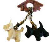 Vintage Carved Celluloid Plastic Hanging Scottie Dogs & Doghouse Pin Brooch