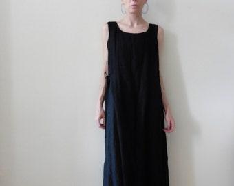 Minimal Black Linen Maxi Dress