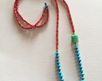 Vintage Turkish Evil Eye Glass Bead with Coral, Chrysoprase, Lapis, Turquoise and African Trade Beads, Long Layering Necklace