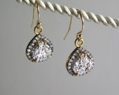Silver Platinum druzy teardrop drop earrings 14k gold filled wires rhinestones