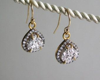 Silver Platinum druzy teardrop drop earrings 14k gold filled wires rhinestones