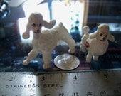 vintage dog figurine miniature pair poodles bone china