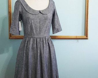 peter pan collar dress in grey- womens retro clothing - FREE US SHIPPING