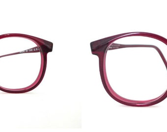 Big Wine Burgundy Round Eyeglass Frame USA Log Lady Huge Mod Vintage Eyeglasses Sunglasses Panto P3 NOS 80s Bug Eye Bubble DIsco Granny