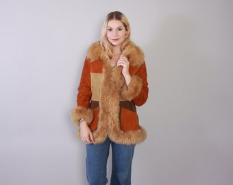 Vintage 70s LEATHER JACKET / 1970s Fitted Boho Patchwork Suede Coat with Fluffy Faux Shearling Fur Collar Sherpa Lining XS - S