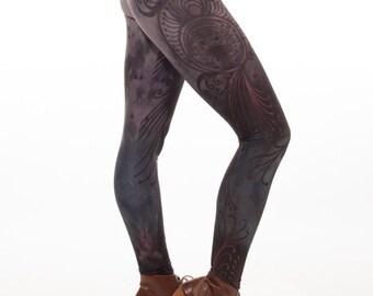 Limited edition artist designed printed leggings, yoga pants, handmade leggings, by Plastik Wrap. All sizes