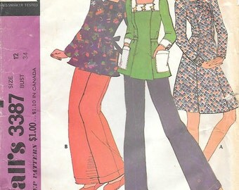 McCalls 3387 1970s Smock Top Dress and Pants Vintage Sewing Pattern Size 12 Bust 34 Patch Pockets