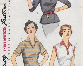 Simplicity 4159 1950s Misses V-Neck Blouse Vintage Sewing Pattern Size 14 Bust 32 Sleeveless Top Collar