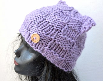 Knit Cat Ear Hat  - Lilac - Winter Fashion Accessory - Small Size