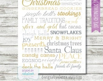 8x10 Christmas Subway Word Art Decor / Silver / Gold / Typography / Wall Art / Printable / Digital File / INSTANT DOWNLOAD